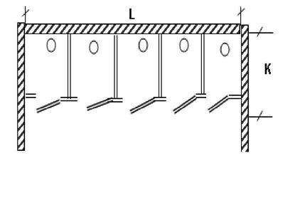 Изображение Перегородка для разделения санузлов 5- створчатая, между стен.