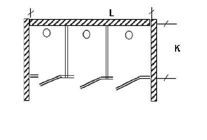 Изображение Перегородка для разделения санузлов 3х створчатая, между стен. 2700х1200х2000 мм