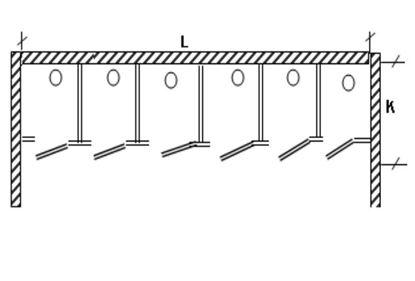 Изображение Перегородка для разделения санузлов 6- створчатая, между стен.