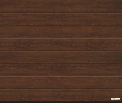 Vorota sekcionnye LPU 42, decocolor, M-gofr, cvet Dark oak (Темный дуб)