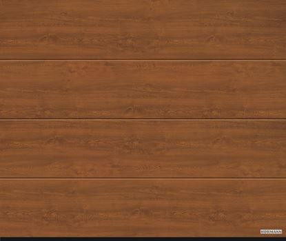 Vorota sekcionnye LPU 42, decocolor, M-gofr, cvet Golden oak (Золотой дуб)