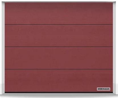 Изображение Ворота секционные LPU 42 2375x2000 мм duragrain L-гофр цвет Diamond red