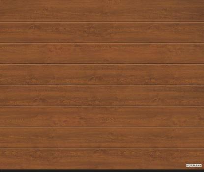 Изображение Ворота секционные LPU 42, 2315х2080 мм, DecoColor M-гофр цвет Golden oak (Золотой дуб)
